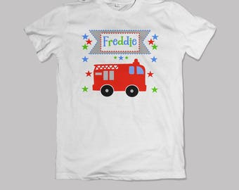 Personalised Children's fire engine t-shirt