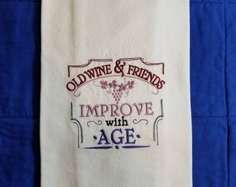 Embroidered Cotton Kitchen Towel with Wine Saying