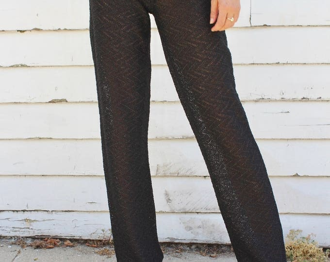 Featured listing image: Vintage Black Crochet Tie Pant, Woman's Clothing, Vintage hippie trousers, 60s Festival Pant, Black metallic pants, Tie pant, Crochet bells