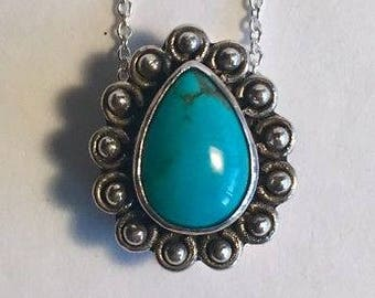 Lori Bonn Sterling Silver Turquoise Pendant Necklace, Turquoise Necklace, Lori Bonn Necklace, Lori Bonn Charm, Lori Bonn Jewelry, Turquoise