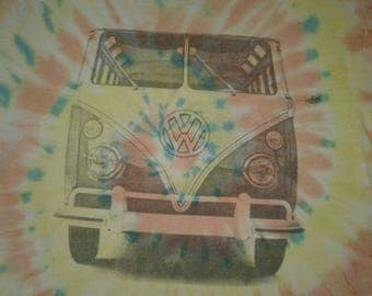 Rare Volkswagon Combi tie dye hippies t-shirt