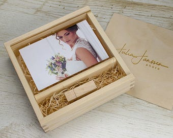 4x6 wood print box | 4x6 photo box for photos and USB drive (15x10 cm photo packaging)