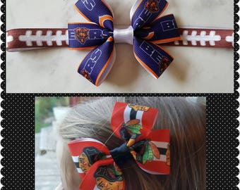 Chicago Blackhaws headband/ Chicago Bears headband/ Bears bow/ Blackhawks bow