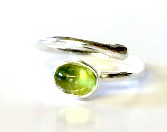 Peridot Oval Adjustable Ring