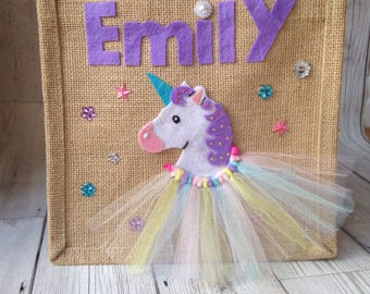 Beautiful Handmade Rainbow Unicorn Jute Bag - Perfect gift for any little princess. Birthday, special occasion or Accessory