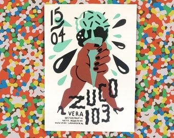 Zuco 103 Screenprinted / Silkscreened 3 Colour Gigposter For Vera Groningen Artprint Handpulled Print
