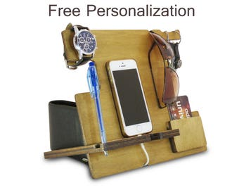 Cute Desk Accessories or Desk Organization, Personalized Docking Station and Phone Charging Station, Desk Tidy and Wooden Charging Station