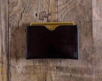 Leather wallet BLACK leather, credit card holder, business card holder, slim wallet, travel wallet, cardholder in leather, minimal wallet