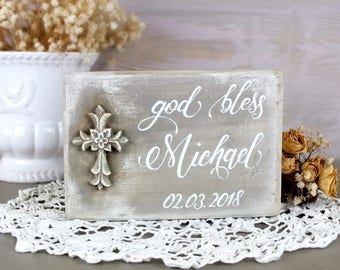 Personalized god bless sign Custom cross baby name wooden signs Blessings art Gift for godchild Baby first communion present Christening boy