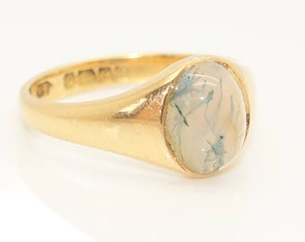 Antique 18Ct Yellow Gold Moss Agate Cabochon Signet Style Ring, Size L
