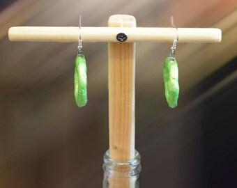 Green hoop earrings, iridescent earings, hoop earrings, iridescent hoop earrings