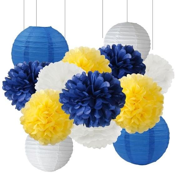 13pcs navy yellow white tissue paper pom pom and paper - Decoracion con pompones ...