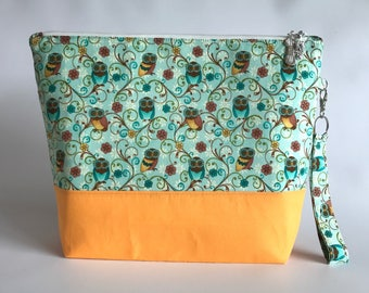 Owls and Flowers - Medium Project Bag for Knitting/Crochet