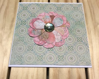 Pretty Pink Paper Flower Card
