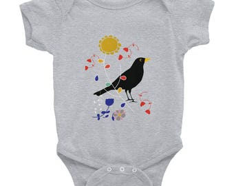 Bodysuit, Baby Clothes, Newborn Baby, Unisex Baby, Baby Bodysuit Vest, Baby-grow, Baby Body, Baby Gift, Long-Sleeved Vest, black bird