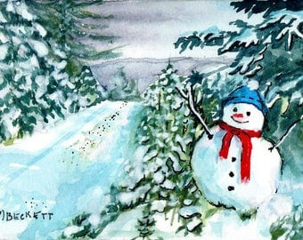 ACEO / ATC Original: 'Snowman Crossing' - watercolor and ink on 140lb watercolor paper