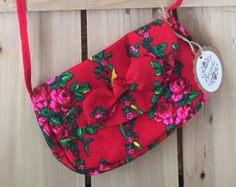 Red Floral Goralski Mini Bow Purse