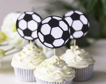 Set of 12 Soccer cupcake toppers, soccer party supplies, soccer balls /birthday cup cake topper/table decorations/Birthday cupcake topper/