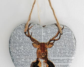 Heart shaped hand decoupaged slate with Stag design
