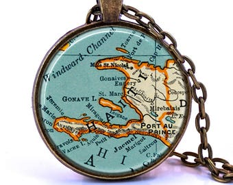 Haiti Map Pendant Necklace - Created from a 1937 Map. Map Jewelry, Map Pendant, Map Necklace, Custom, Birthday Gift, Bridesmaid Gift