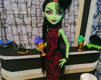 Burgundy dress for Monster high