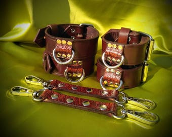 Leather BDSM Wrist and Ankle Cuffs Set
