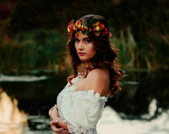 Fall maple leaf tiara Autumn bride flower red berries crown Сouronne automne Herbstlaub haarkranz Hair wreath Floral crown Fall bridal halo
