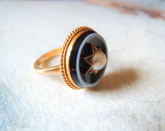 Antique Victorian Banded Agate and Pearl Ring