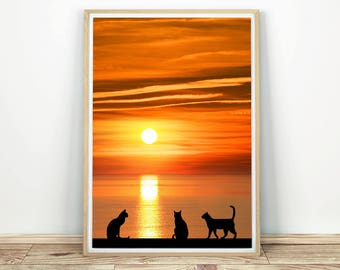 Cats by the Sea at Sunset - Printable Art, Seascape Art, Cat Print, Cats Poster, Sunset Sea, Cat Art, Ocean Sea, Sunset Sea Print, Wall Art