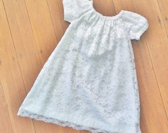 "Baby girls christening dress, White lace dress, size 3-6 months  ""READY TO SHIP"""