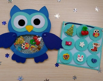 Owl, Busy bag, I Spy Bag, quiet book,  Find Game, Eye Spy Game, Occupational Therapy, Felt toy, Soft owl, Felt owl, Easter gift, felt story