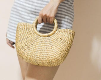 Straw bag Weaving seagrass top handle bag, handmade bag , boho bag, straw purse from Thailand