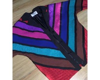 Vintage MARGUERITE RUBEL Quilted Colorblock Jacket Retro Colorful Windbreaker
