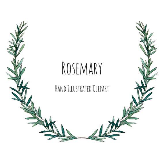 Clipart Illustration Rosemary Herb Wreath Frame