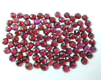 10 Pieces - Natural Rhodolite Garnet Faceted One Side Rose Cut Round Cabochon - 5 MM - Garnet Cabochons - High Quality - Wholesalegems