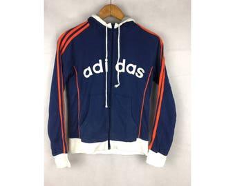 ADIDAS Hoodies Big Spell Put Logo Small Size Fully Zipper Hoodies