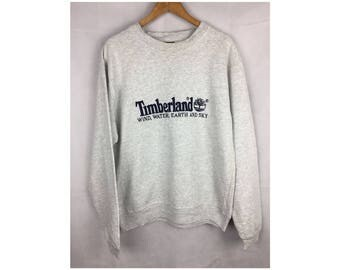 TIMBERLAND WEATHERGEAR Long Sleeve Sweatshirt Pull Over Medium Size With Big Spell Out Embroidered Logo
