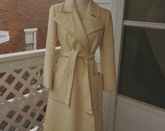 1960's IMAGIN Ivory Wool Coat with Belt