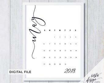 MAY 2018 printable pregnancy announcement calendar social media flat lay photo prop due date save the date digital file download