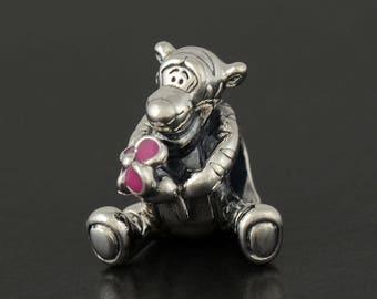 Authentic Pandora s925 Sterling Silver DISNEY Tiger Pink Enamel Charm 792135EN80