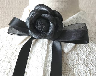 Runway bib collar necklace Women's black bow tie Chanel inspired Ascot bow Fashion accessory