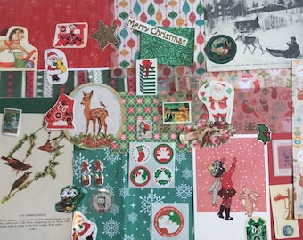 CHRISTMAS CARD KIT craft pack / vintage ephemera / scrap / red and green / card making / decoupage / collection / decoration