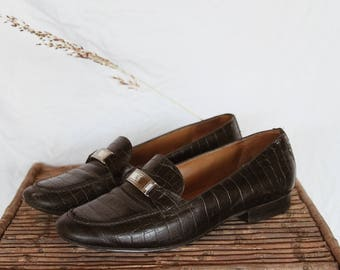 Vintage Ralph Lauren Leather Loafers - 90s Minimal Croc Loafers