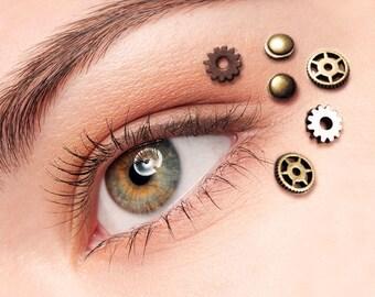 Eye Decals Womens Steampunk Clothing - Steampunk Accessories - Steampunk Mask - Clock Part Steampunk Gears 6pcs
