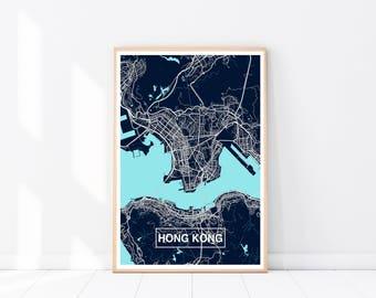 Hong Kong Map Print, Custom Map Print, Map, Large Poster, Wall Art, Blue Wall Art, Travel Poster, Hong Kong, City Map Print