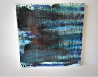 "Across The Big Blue - 6"" x 6"" Original Abstract Ceramic Painting"