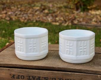 Milk Glass Planter - Milk Glass Vase - Vintage Planters - Octagon Planter - Vintage Planter - Vintage White Planter - White Planter - Plants