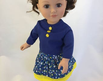 18 inch doll clothes; skirt and blouse