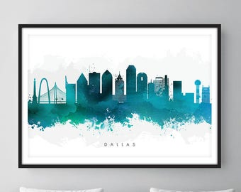 Dallas Skyline, Dallas Texas Cityscape Art Print, Wall Art, Green Watercolor, Watercolour Art Decor