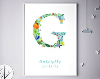 Customizable Prints, Initial Print, Customizable Poster, Grace, Gabriella, Gabrielle, Geraldine, Personalized Baby Gift, Birthday